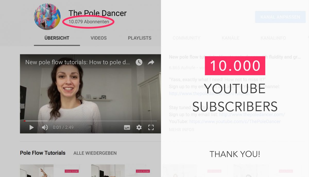 10.000 YouTube subscribers, 5 years of pole dance and one lesson I learned